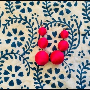 Hot Pink tiered wrapped ball earrings
